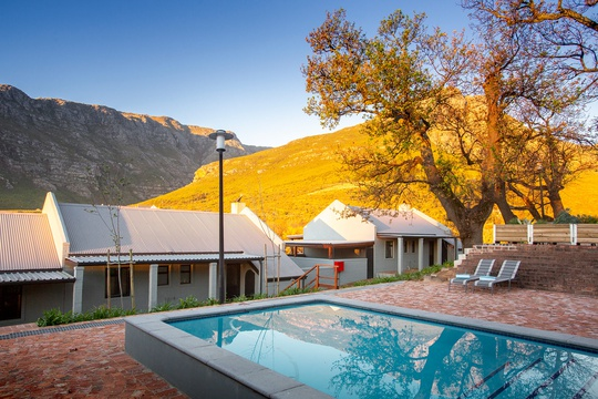 Views the pool at Mont Angelis Retreat in Stellenbosch, South Africa
