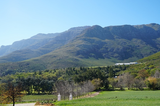 Mont Angelis view on Stellenbosch Mountain from terrace accommodation
